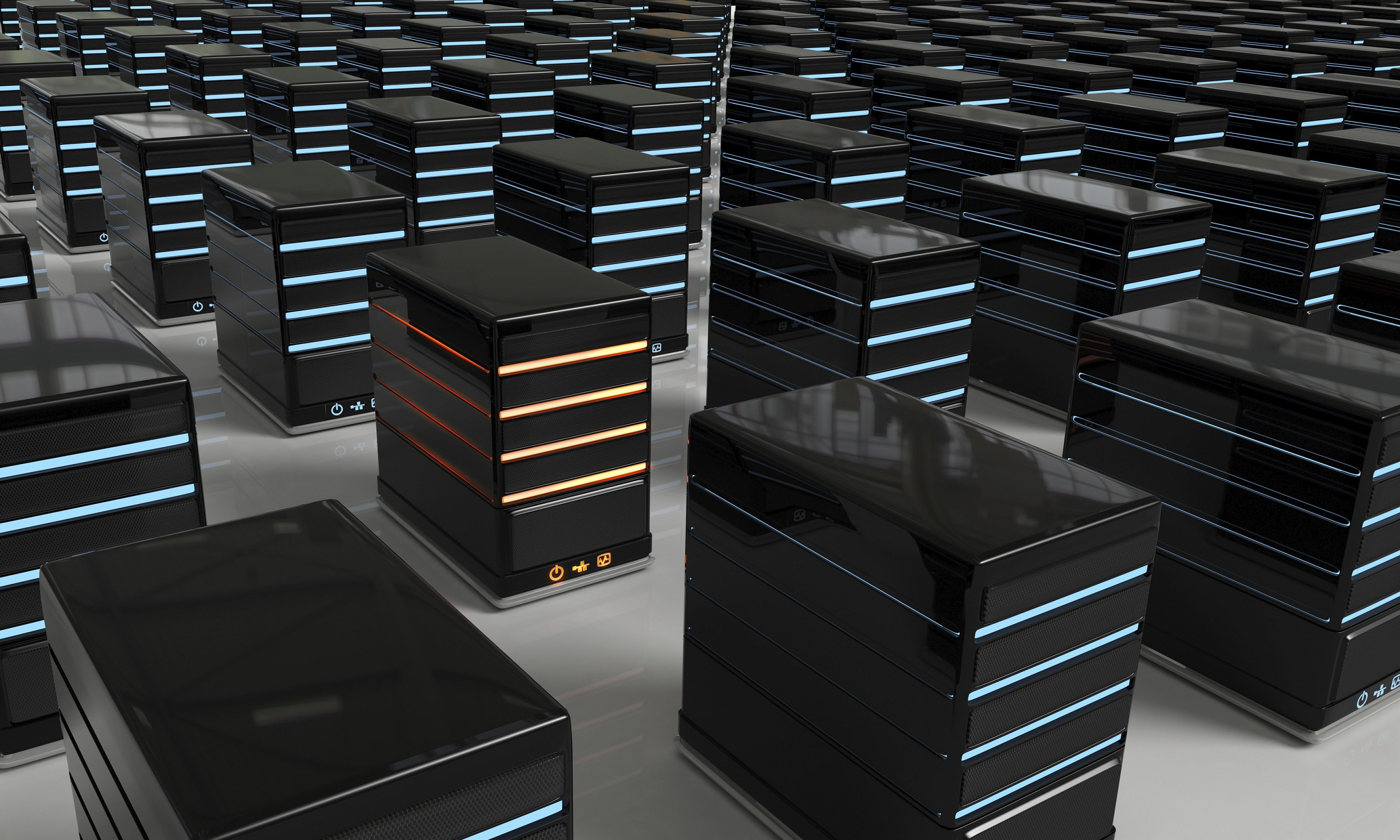 3D rendered illustration of blue led Network Servers arranged in a grid formation, with a unique, red led server among them